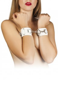 Наручники Leather Dominant Hand Cuffs, WHITE