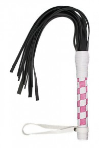 Флогер VIP Leather Flogger White&Light Pink